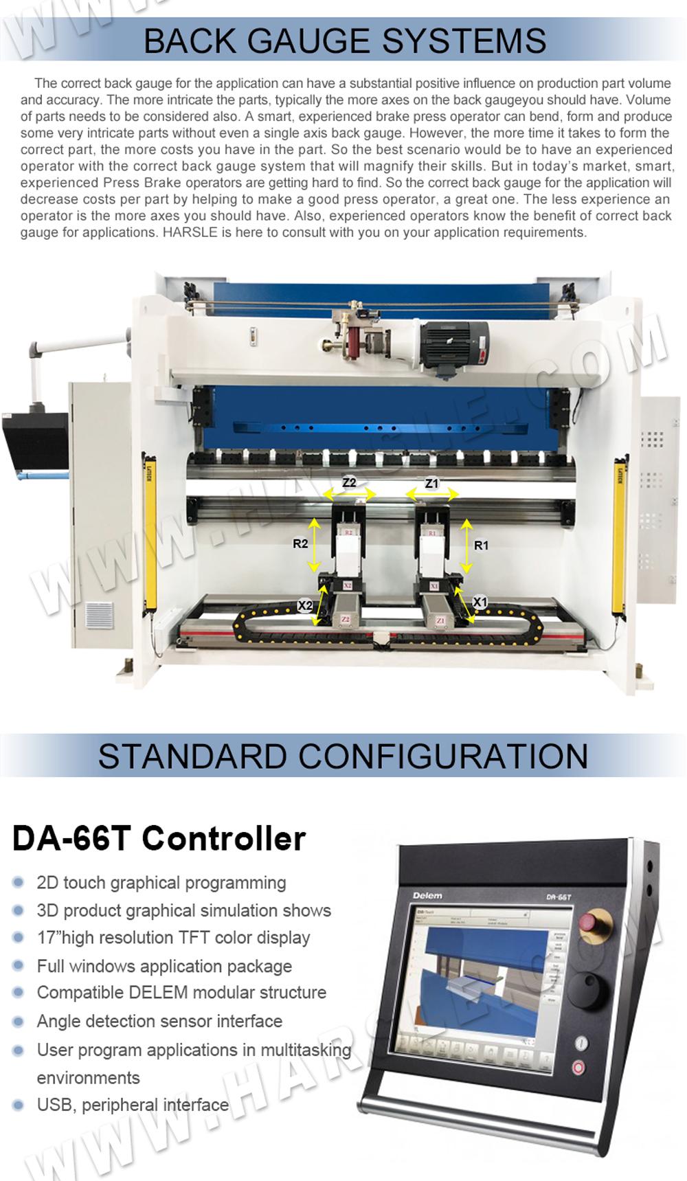 CNC press brake with DA-66T, WE67K-125T/3200 hydraulic press